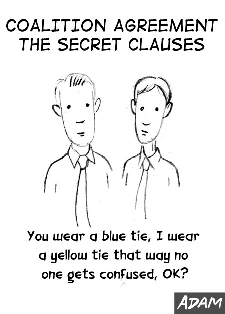 I wear a blue tie, you wear a yellow tie, that way no one gets confused