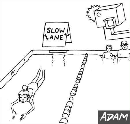 Slow lane at the Swimming pool