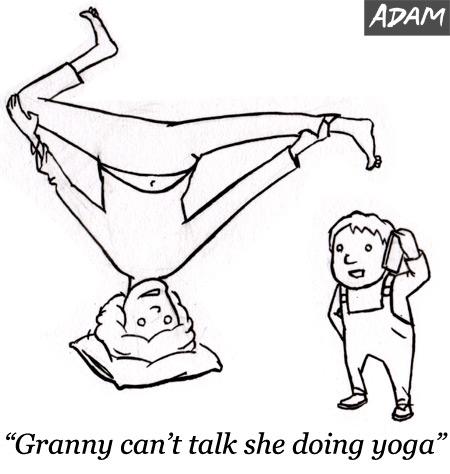 Granny can not talk she doing yoga