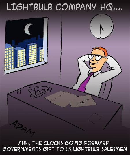 ahh the clocks going back governments gift to us lightbulb salesmen