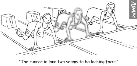 The runner in lane two seems to be lacking focus