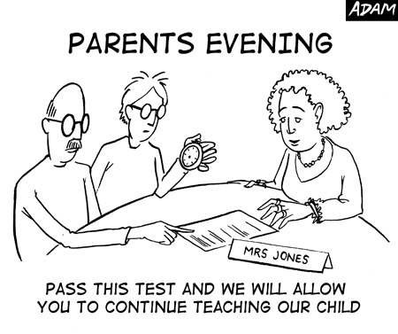 Pass this test and we will allow you to continue teaching our child