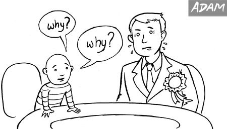 Young children would be great as political interviewers